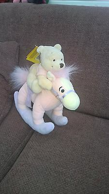 Disney Store Exclusive Winnie The Pooh On Rocking Horse - Teddy Bear - Tagged