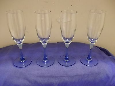 Libbey Blue Stemware Set of 4 Fluted Champagne Glasses EUC