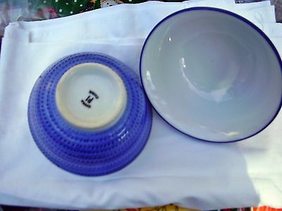 Set of 3 Chinese Rice bowls blue/white, very nice, clean, little signs of use