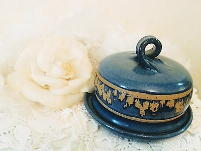 Vintage cheese bell by Bentham pottery, blue ceramic butter dish, garlic roaster
