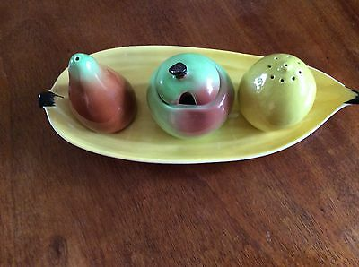 Carltonware Cruet Set 3 Piece 1 With Lid On Holding Dish Bright Colours Very Old