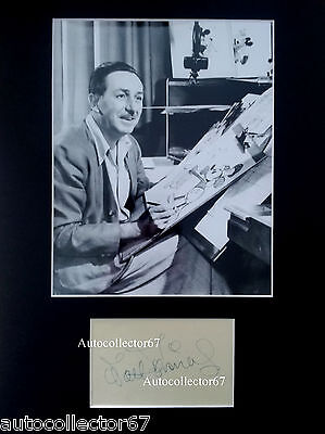 Authentic 1950s WALT DISNEY signed AUTOGRAPH book page display