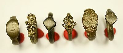 Lot Of 6 Roman / Medieval Decorated Wearable Rings - Great Artifacts