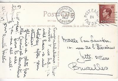 EDVIII postcard: Southend-on-Sea to Brussels, Belgium, 26 July 1937