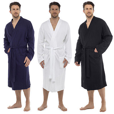 Men's 100% Cotton Bath Robe Dressing Gown Soft Waffle Wrap Loungewear Luxury UK