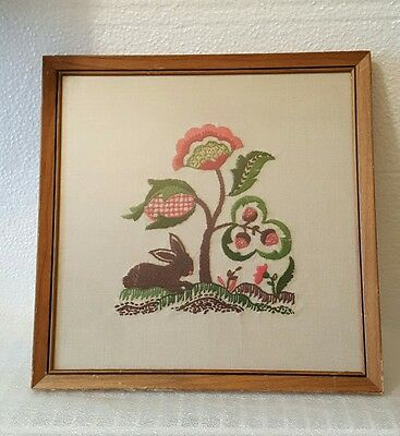 Vtg 1966 Glass Framed Crewel Embroidery Jacobean With Rabbit On Linen Picture