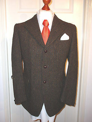 "Harris Tweed Jacket Blazer 42"" Reg' Superb Brown Hand Woven Wool - Pristine !!"