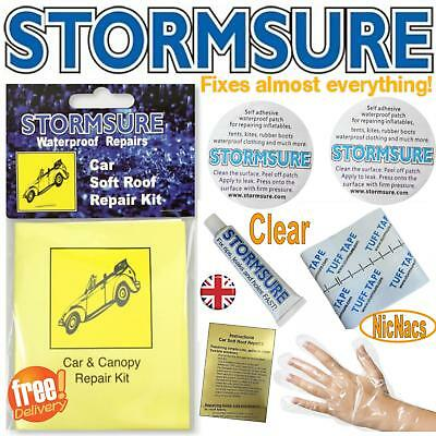 Soft Top Car Roof Convertible Hood Repair Kit Includes Patches & Glue Stormsure