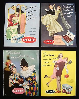 4 x Vintage 1950's Chocolates By Caley of Norwich Magazine Adverts