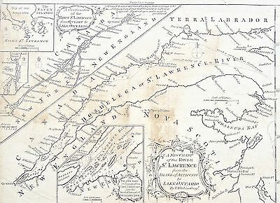 Thomas Kitchin Print, London Mag, 1759.. Chart River St. Lawrence to Anticosti