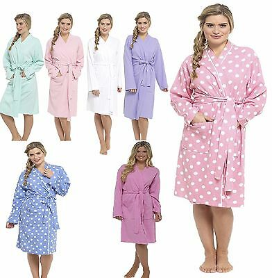 Ladies Womens Waffle Bath Robe 100% Cotton Dressing gown Comfortable Nightwear