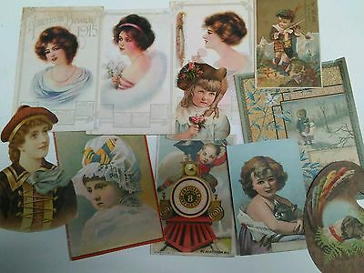 11 vintage early victorian trade card scraps