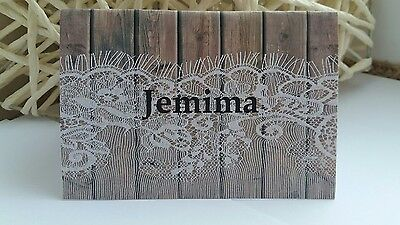 10 Wedding Personalised Table Place Name Cards Party Vintage Lace wood