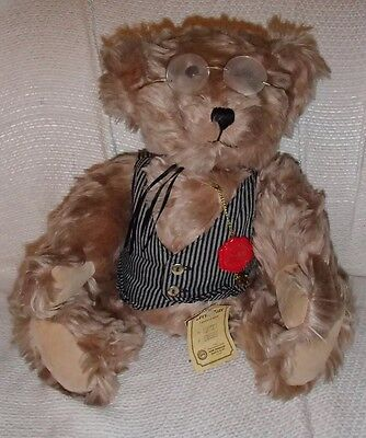 """Limited edition Hermann collector teddy bear 913 Of 3000 certificate 13"""" glasses"""