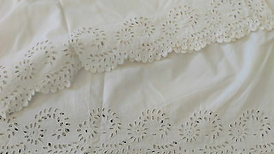 Antique Eyelet Openwork Sheet Pillowcase Remnant