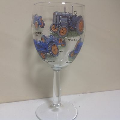 Fordson   Large Wine Glass With 6 Different Tractors On