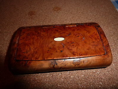 "Antique Large Burr Wood Snuff box with ""faux"" Tortoise shell lined interior."