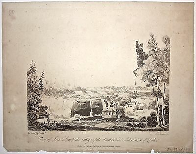 View of Jeune Lorette... George Heriot 'Travels through the Canadas 1807 Antique