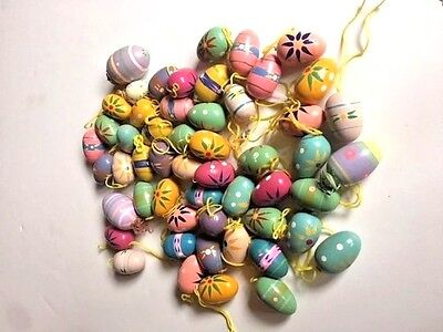 Lot Of Miniature Painted Wood Easter Egg Ornaments Decorations