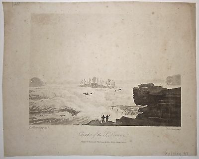 Cascades of the St. Lawrence, G Heriot 'Travels through the Canadas 1807 Antique
