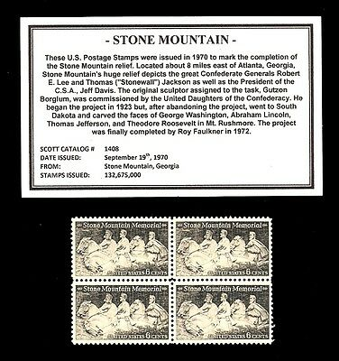 1970 - STONE MOUNTAIN - Mint -MNH- Block of Four Vintage Postage Stamps