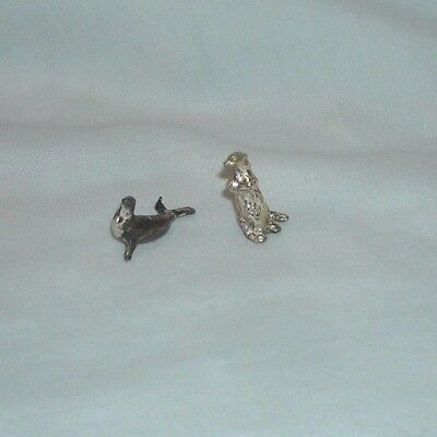 2 Very Miniature Silver Sea Otter & Seal Figurines