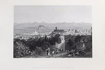 Rhodes-Greece-Middle East : c.1840 Antique B/W Print Steel Engraving