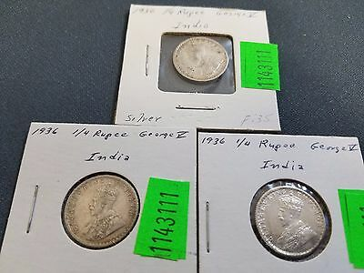 (3) 1936 .917 Silver British Colonial King George V 1/4 Rupee India