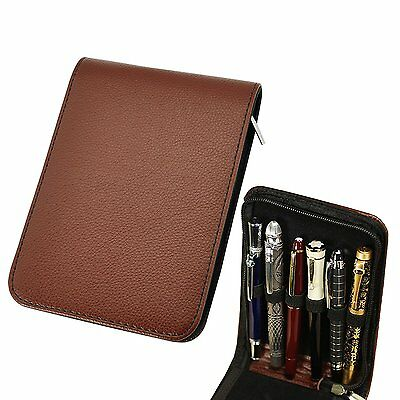Fountain Rollerball Pen Case Holder PU Leather Case for 12 Pens - Brown