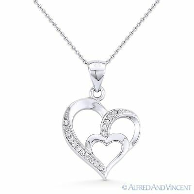 Heart CZ Crystal Love Charm Pendant & Necklace in 925 Sterling Silver w/ Rhodium