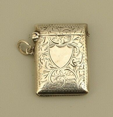 Engraved Sterling Silver Match Safe - English Hallmark - Birmingham 1903
