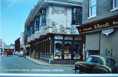 Old  Real Photo Postcard - The Ancient Houses,butter Market,ipswich