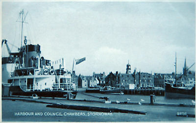 Old  Real Photo Postcard - Harbour & Council Chambers, Stornoway