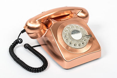 GPO Style Vintage Retro Phone 746 Telephone Push Button Dial Rose Gold