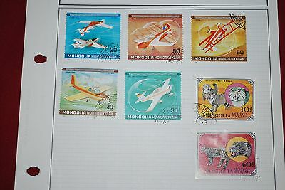 Mongolia Used stamps - Airplane and Cats