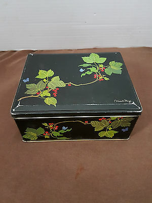 Vintage Tin Container England Signed Rectangular leaves and butterflies