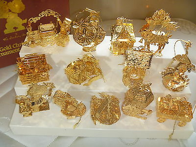DANBURY MINT GOLD CHRISTMAS COLLECTION 13 wagon toy chest house ballerina & MORE