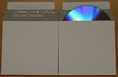 """200Pcs NEW  White Envelope 5 """" X 5"""" CARDBOARD CD & DVD MAILERS WITH SEAL FLAP"""