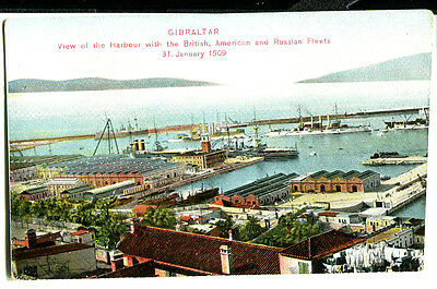 GIBRALTAR  -  View of Harbour with British,American and Russian Fleets. c1900's