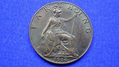 Mint darkened King George V 1914 farthing EF - jwhitt60 coin collection