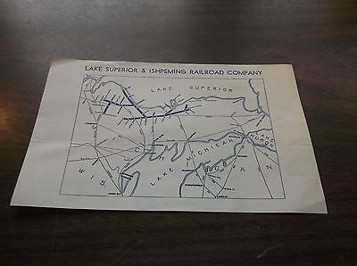 1950's LAKE SUPERIOR & ISHPEMING RAILROAD COMPANY LS&I SMALL SYSTEM MAP