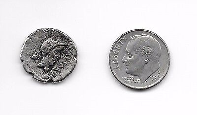 ANCIENT JULIUS CAESAR and MARK ANTONY 43 BC SILVER ROMAN COIN. Compare to $1.5K.