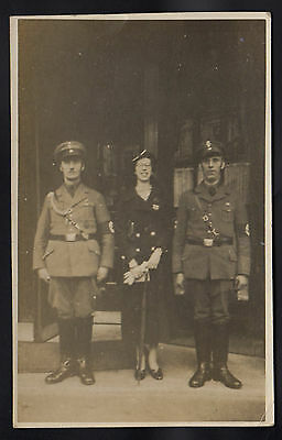 Rare Real Photograph Poscard of German Lady Escorted by Nazi Party Officials