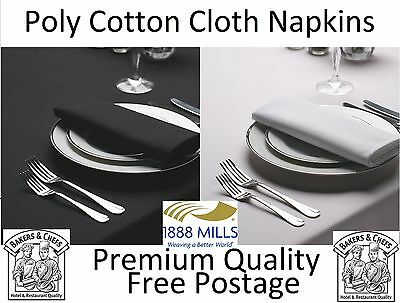 White Black Napkins Table Linen Dinner Fabric Cloth Poly Cotton Hotel Wedding