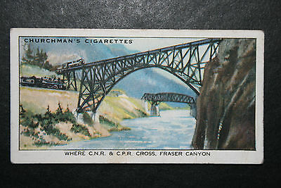 Fraser Canyon   CNR and CPR  Canadian Railways  1930's Vintage Card