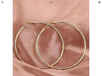 1Pair Fashion Gold Textured Hoop Earrings Huge Round Hoops Chic Gift