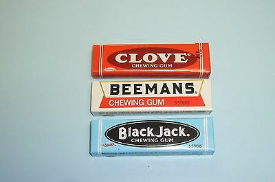 3 Vintage Unopened Packs Adams Clove Adams Black Jack Beemans Pepsin Chewing Gum