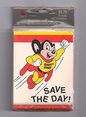 "Vintage Mighty Mouse ""Save The Day!"" Birthday Party Invitations Cards Pkg of 8"