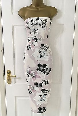 ASOS Brand New Women's Floral Strapless Party Evening Day Bodycon Dress Size 8