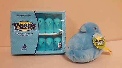 PEEPS Blue Plush Easter Chick with 10 Pack of Blue Marshmallow Peeps